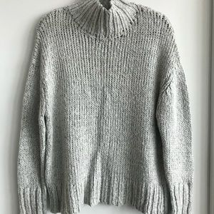 Cowlneck heathered grey thick knit sweater